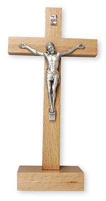 22cm Free Standing Pear Wood Crucifix Cross Silver Metal Corpus 11576