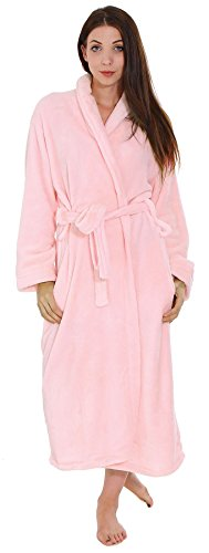 Robe Long Fleece Girls Sleeved (Warm Fleece Unisex Soft Plush Long Sleeved Bathrobes w/ Pockets Pink)