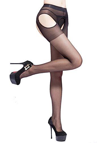 (E-Laurels Women's Sheer Suspender Tights Garter Belt Pantyhose Mock Stockings (Black) )