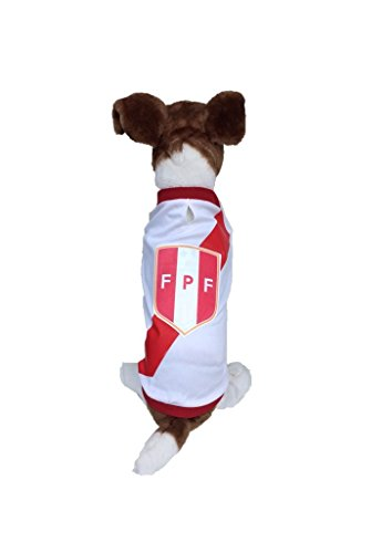 - Dog Soccer Jersey Peru-Pet T-shirt- Made of 100% Polyester-breathable Fabric-makes Dog Comfortable-cozy up Costume to Celebrate The Russia World Cup 2018-enjoy Your Football Team Passion. (Medium)