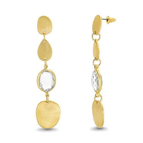 Catherine Malandrino Geometric Shaped Oval Disc and Rhinestone Yellow Gold -Tone Drop Dangle Earrings for - Metal Oval Expanded
