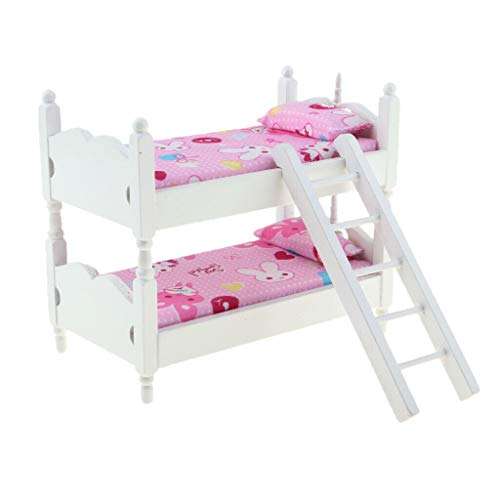 Miniature Baby Bedroom Furniture Bunk Bed Pink Bunny Kids 1/12 Dollhouse