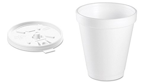 osable Coffee Foam Cups Hot and Cold Drink Cup (Pack of 100 with lids) (Dart Foam Cup Lid)