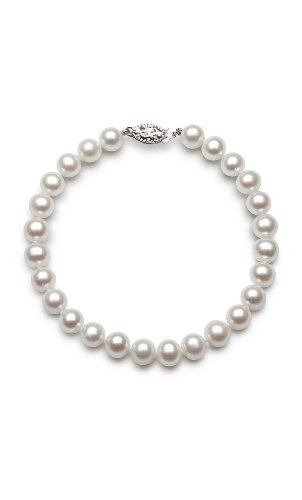 Double Faux Pearl Bracelet (14k White Gold AA-Quality 7.0-7.5mm Cultured Freshwater Pearl Strand Bracelet, 8