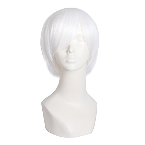 MapofBeauty Men's Short Straight Fashion Cosplay Costume Wig (White) -