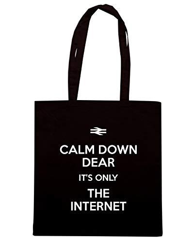 CALM Borsa Shopper Nera ONLY DEAR TKC3559 THE Speed DOWN INTERNET IT'S Shirt 5nxftX