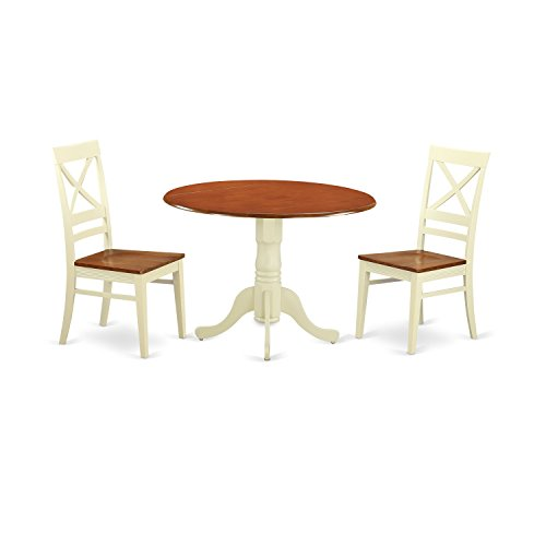East West Furniture DLQU3-BMK-W 3 Piece Dinette Table and 2 Dining Room Chairs