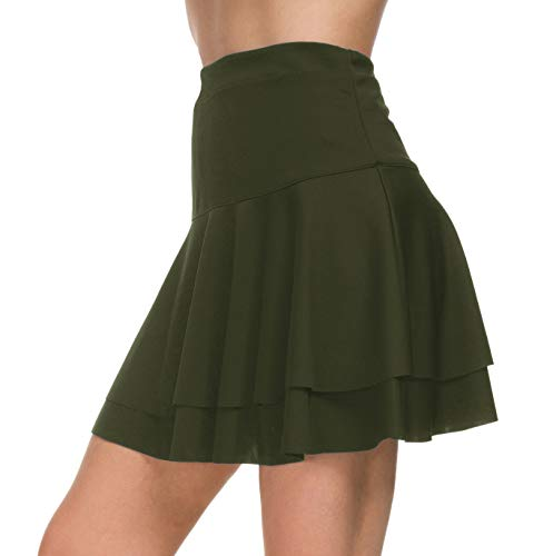 Afibi Stretchy Flared Ruffle Layered Mini Skater Skirts for Women (Large, Army Green 2) ()