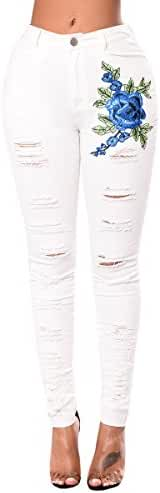 Womens Vintage Rose Embroidered Skinny High Waist Ripped Stretchy Jeans Trouser