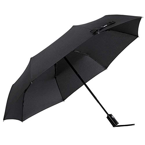 Glamore Compact Travel Umbrella, Windproof Lightweight Auto Open/Close Umbrellas (Black)