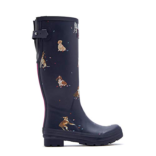 Joules Women's Welly Print Rain Boot French Navy Dogs in Leaves 8 Medium UK (10 US) - Wellies Plain