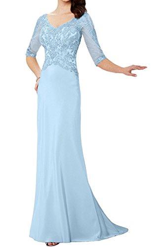 Elegant Blau Braut Spitze Abendkleider Blau Ballkleider Brautmutterkleider v Chiffon Hell Marie La Bodenlang Ausschnitt wSx6UqIHn