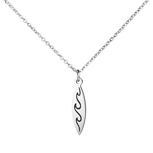 Awegift Surfboard Necklace Surfer Wave Silver Necklaces Beach Jewelry Gift for Women -