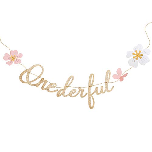 Glitter Gold Butterfly - Ling's moment Onederful Butterfly & Flower Banner, Gold Glitter 1st Birthday Banner, Paper Wedding Anniversary Backdrop Banner, One Highchair Banner, Happy Birthday Girl Sign, Cake Smash Photo Prop