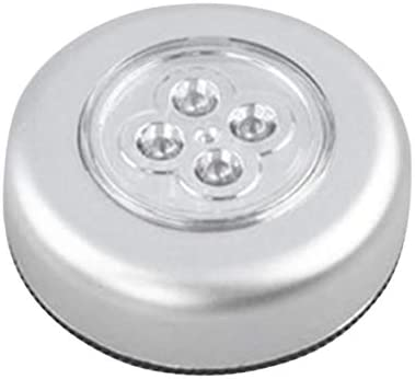 Tivollyff 4 LED制御ナイトライト丸型ランプキャビネットクローゼットプッシュランプランプ付きホームキッチンベッドルーム自動車用
