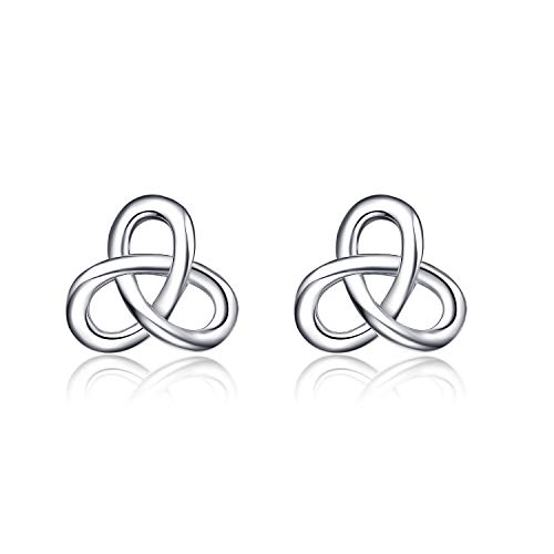 Celtic Stud Earrings Sterling Silver Celtics Jewelry Triquetra Knot Earrings Studs for Women Teen Girls (Triangle Celtic Knot Earrings 4)