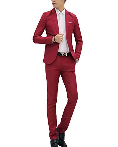 Pantalon Rouge Costume Veste Homme Fit Mariage Pièces Slim Deux D'affaire Vin 6nfwqS6C8