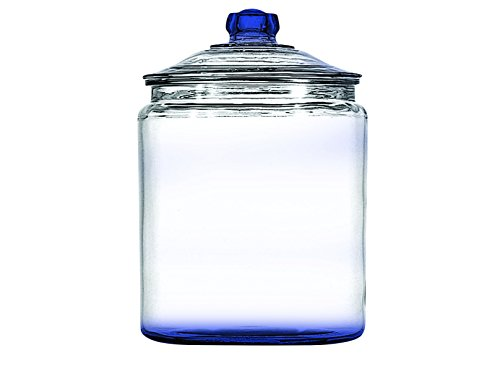 Colbalt Blue Anchor Hocking Heritage Hill Glass Cookie/Candy Jar with lid, 1-Gallon with Colored Accent -set of 1- Additional Vibrant Colors Available by TableTop (Blue Glass Cookie Jar)