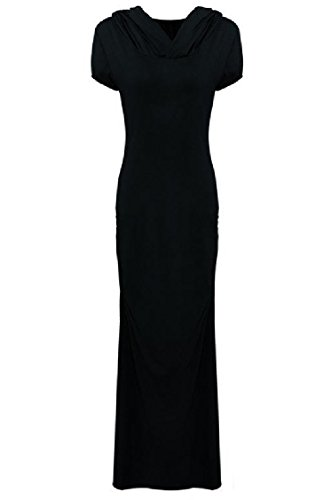 Solid Dress Women Hollow Vintage Sexy Hooded Elegant Maxi Long Coolred Black R56wnBqxgn