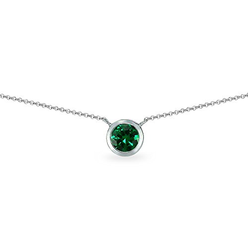 - Sterling Silver Simulated Emerald 6mm Round Bezel-Set Dainty Choker Necklace