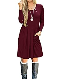 Women's Long Sleeve Dress Pleated Loose Swing Casual Dresses with Pockets Knee Length