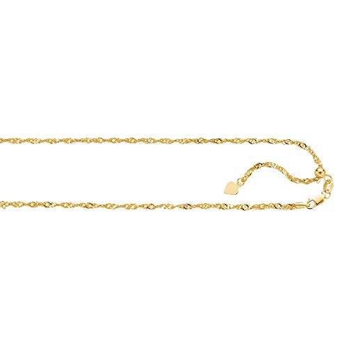 Finejewelers 14K Yellow Gold 22 Inch bright-cut Adjustable Singapore Chain Necklace Lobster Clasp