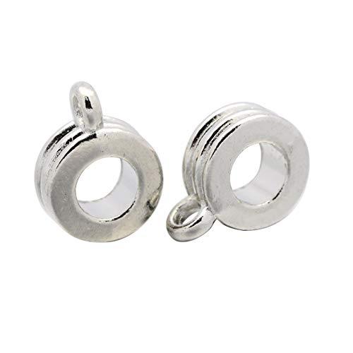 (PH PandaHall 200pcs Alloy Column Bail Beads European Hanger Links Platinum Metal Connector with Loop for Charm European Bracelet Pendant)