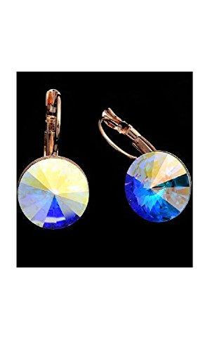 Boucles d'oreilles plaqué or et cristal rivoli swarovski elemnts