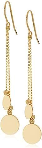14K Yellow Gold Dangling Disc Dangle Earrings