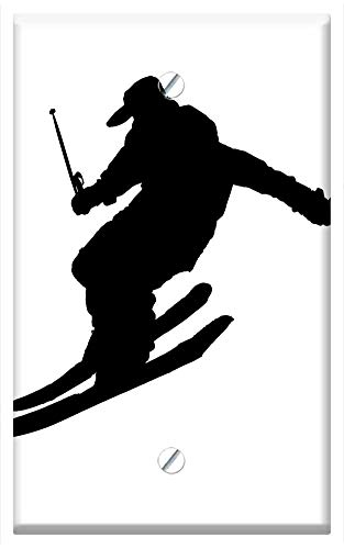 (Single-Gang Blank Wall Plate Cover - Ice Skating Sport Winter Mountain Falling Zig Zags)