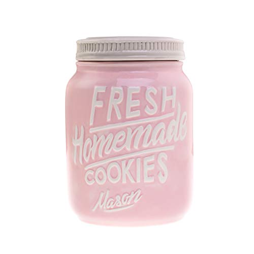 Pink Ceramic Mason Jar Cookie Jar - Keep Your Cookies & Baked Goods Fresh with an Airtight Lid | Handy Container | Vintage Farmhouse Decor & Collector Gift | Rustic Kitchen Accessory by Goodscious (Lid Cookie With Jar Ceramic)
