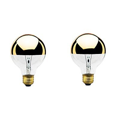 Globe Shape Bulb Light - 40-Watt G25 Globe Shape Light Bulb, Half Gold, Medium Base (2-Pack)