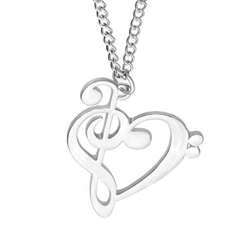 Zzred Simple Women Musical Heart of Treble and Bass Clefs Charm Necklace Silver Music Note Symbol Jewelry ()