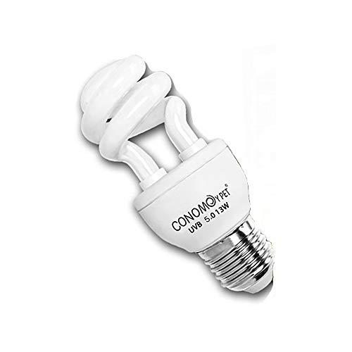 UVB Reptile Light Bulb, Compact Fluorescent Desert/Tropical Terrarium Lamp for Reptile Calcium Supplement, 13 Watts (5.0 for Tropical)