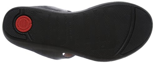 Leather Toe Negro Mujer Banda 001 Thong II Fitflop Black para Sandalias con Abierta Sandals Punta 7qXpwECwx