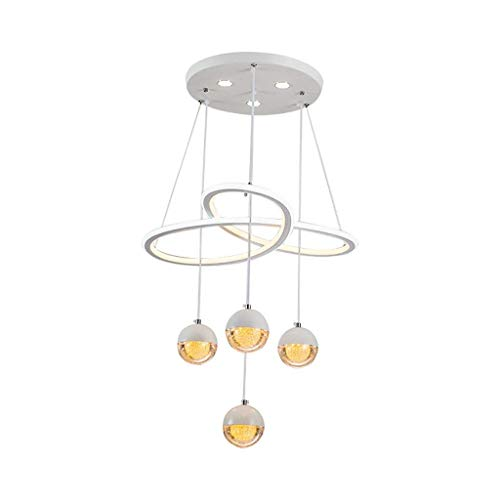 LUCY STORE Enjoyment Modern Pendant Lights with LED Double-Sided Acrylic Shade Simple Iron Chandelier for Living Room/Bedroom/Counter/Restaurant Lighting Fixture,Warmlight Luxury