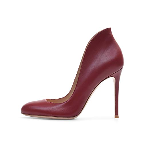 Design Talons Ronde Confortable Du Stilettos Navettage À Talon Bureau 12Cm Winered Chaussures Antidérapant Pompes Femmes Hauteur Tête Talon Hauts H5qwXXvB