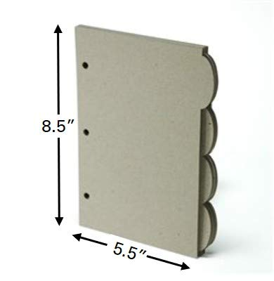 (Naked Binder: 3-Ring Mini Binder Tab Dividers, Recycled Chipboard, 100% Recyclable, Eco-Friendly. 4 Tabs = 1 Set. Accommodates 5.5