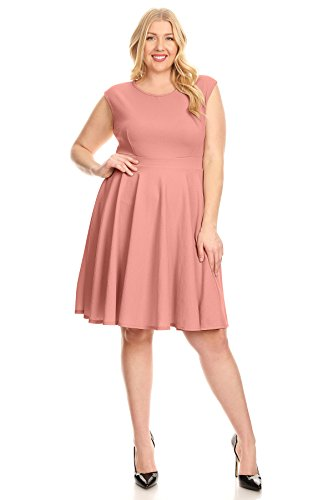 Simlu Womens Knit Fit and Flare Crew Neck Pleated Bottom Plus Size Dress - Made In USA Round Vintage Mauve 3X (Flare Plus Size Dresses)