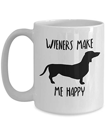 Dachshund Mug - Wieners Make Me Happy - Funny Novelty Coffee Cup For Doxie Lovers and Owners - Best Cute Christmas & Birthday Gag Gift For Pet Daschund Moms And - Cookie Ceramic Jar Handbag