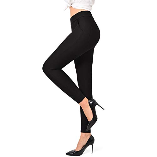 Ginasy Dress Pants for Women Stretch Pull-on Pants Comfort Ease in Office Ponte Pants (Black, XL-Waist 34