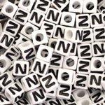 """""""N"""" White Plastic Cube Alphabet Beads, 7mm, Letter N, 75 pcs"""