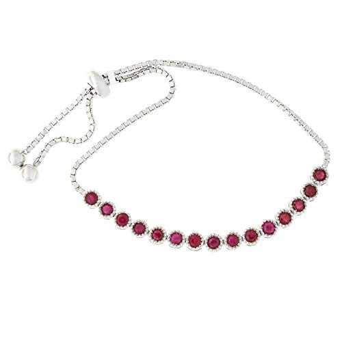 (Sterling Silver Rhodium Plated 2.25ctw Ruby Bolo Slide Adjustable Tennis)