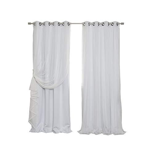 - Best Home Fashion Mix & Match Tulle Sheer Lace & Blackout Curtain Set - Antique Bronze Grommet Top - Vapor - 52