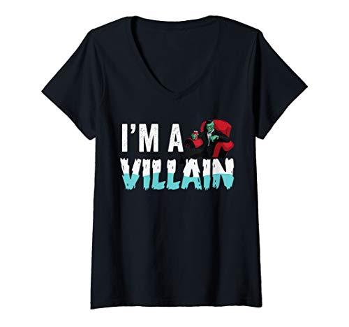 Womens Villain Costume  Easy Simple Halloween Graphic Men Costumes V-Neck T-Shirt]()