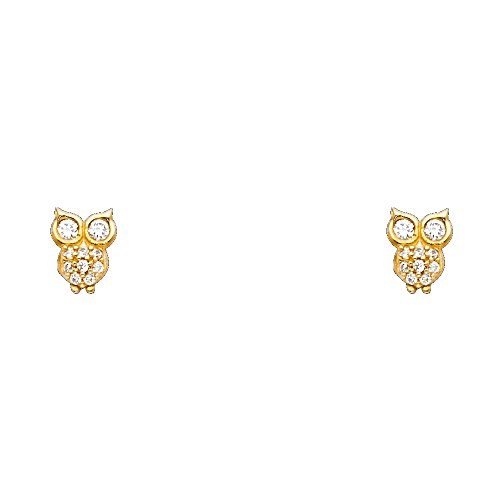 14k Yellow Gold Owl Stud Earrings with Screw Back ()