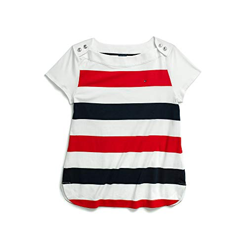 Tommy Hilfiger Women's Adaptive Boat Neck Top with Magnetic Closure at Shoulders, True Red/Multi XL (Top Tommy Hilfiger)