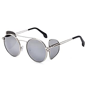 Unisex Polarized Sunglasses with Mirrored and Side Lens Round Metal Frame UV400