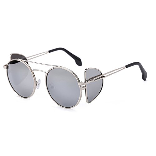 Unisex Polarized Sunglasses with Mirrored and Side Lens Round Metal Frame - Polarized Your Eyes Protect Do Sunglasses