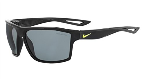 Nike Golf Legend Sunglasses, Black/Volt Frame, Grey with Silver Flash - Silver Lenses Flash